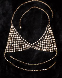 Pretty Bikini Gypsy Top Harness Rhinestone Bra Body Chest Chain Necklace Jewelry