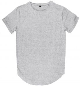 raw edges tshirt curved hem